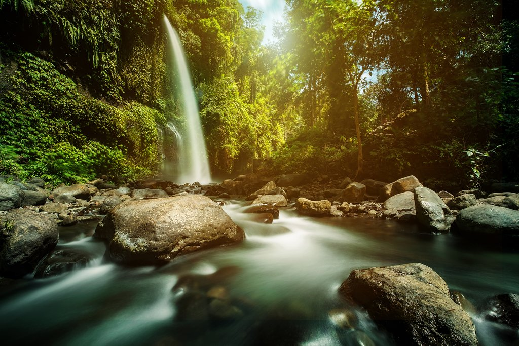 Cool off under waterfalls in the jungle around Tetebatu