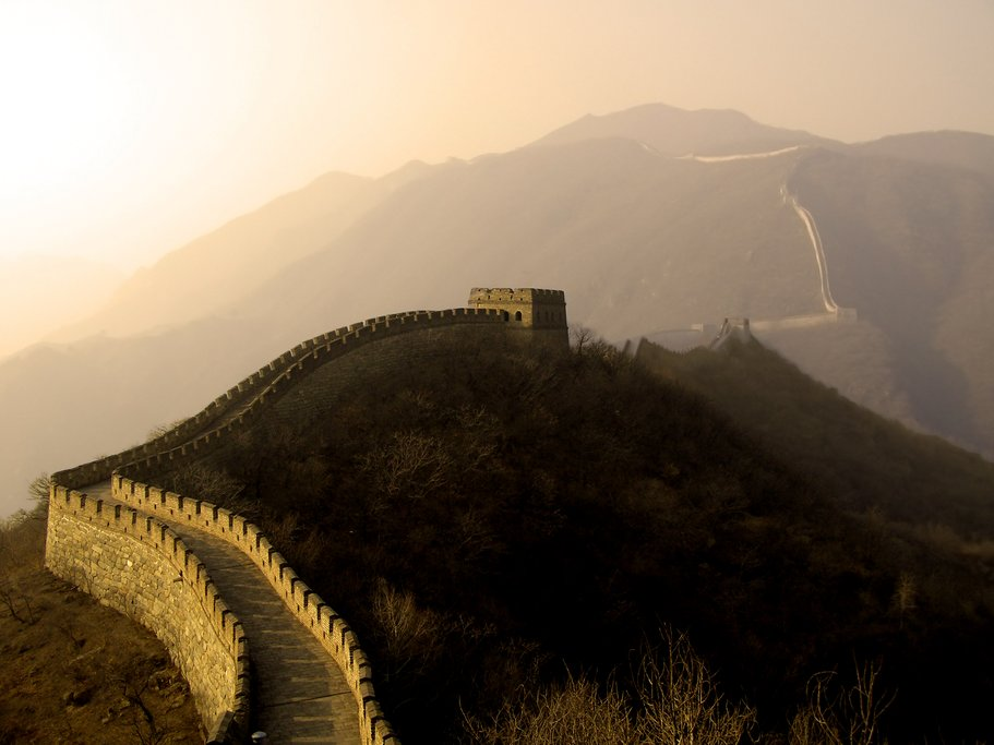Great Wall of China under a hazy sunset