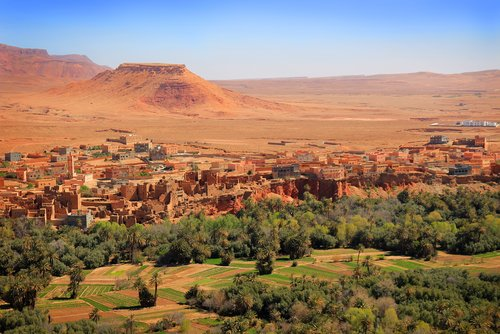 The desert city of Tinerhir and neighboring oasis