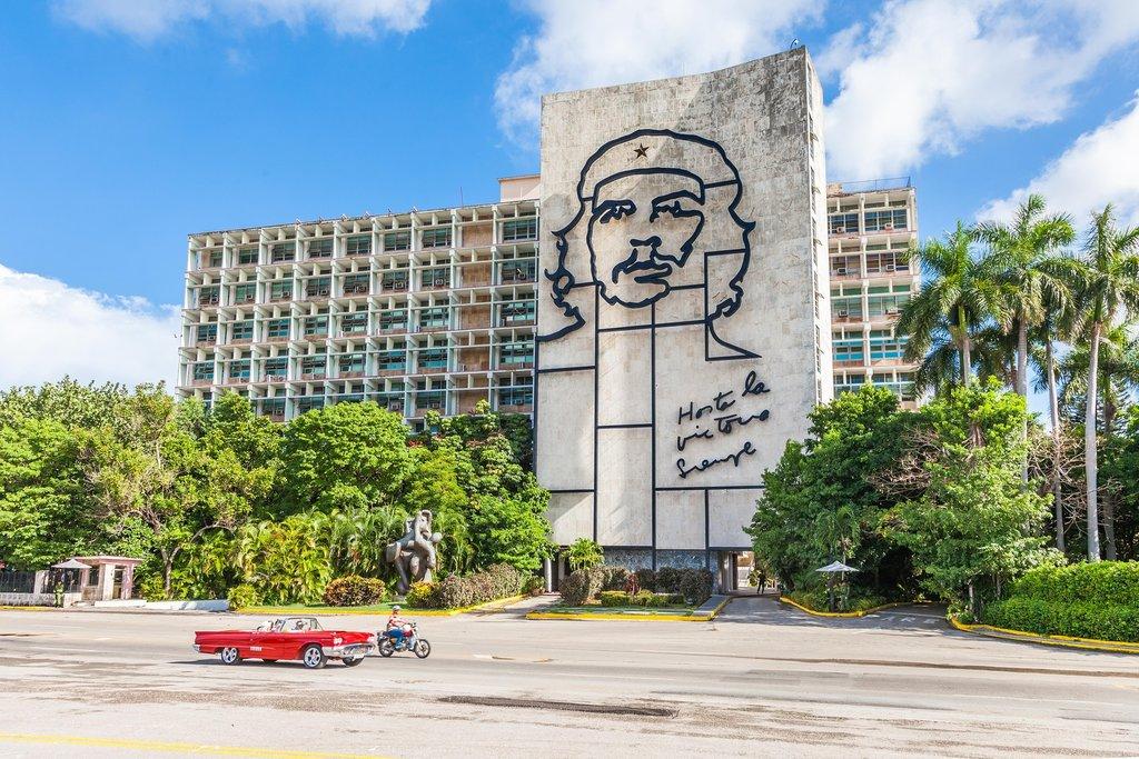 Che Guevara mural in Havana's Plaza de la Revolucion