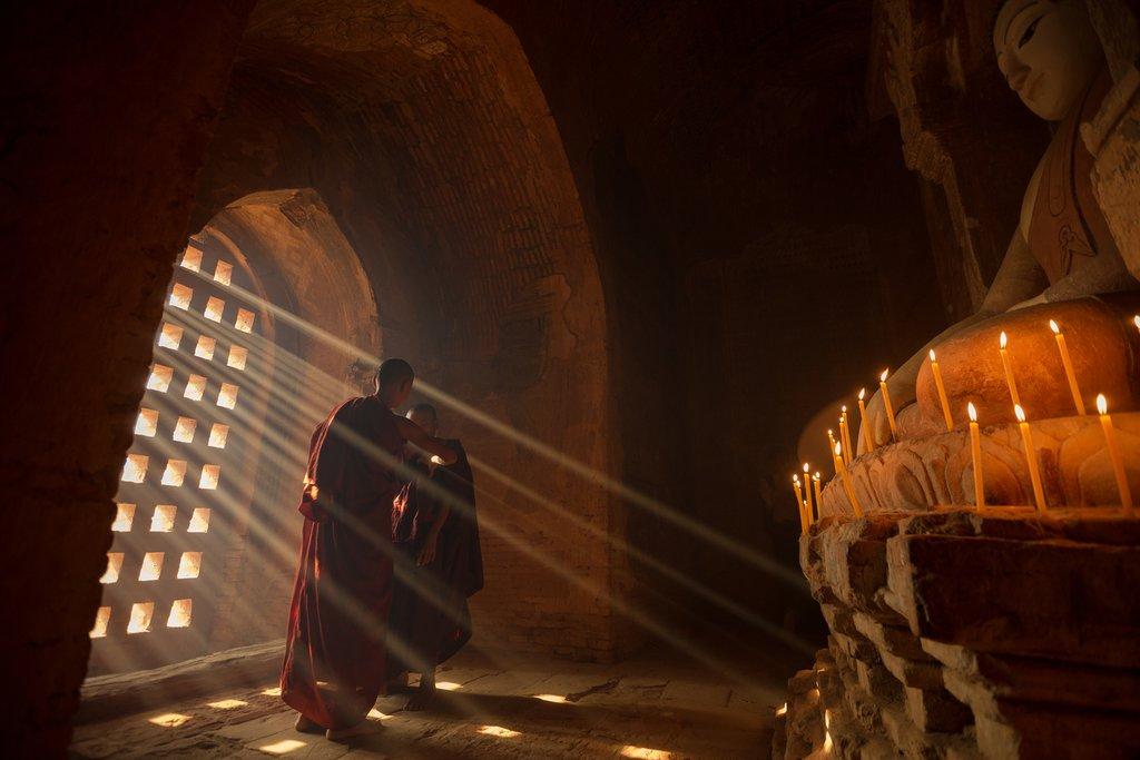 Novice monks in a pagoda in Bagan