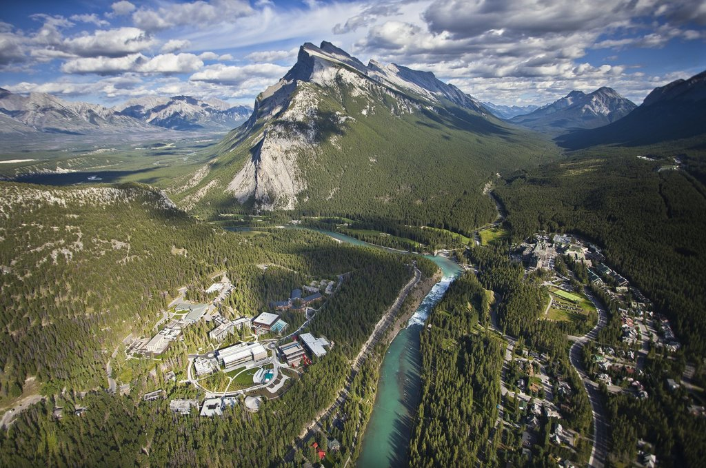 Aerial view of the town of Banff (Paul Zizka)