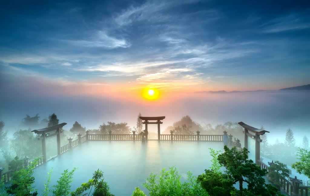 Dawn at the Bao Loc pagoda Vietnam