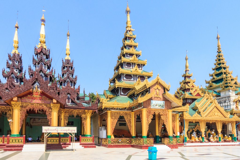 Yangon, Myanmar-May 6th 2014: Buildings in Shwedagon Pagoda. The pagoda is the most sacred in all of Myanmar.