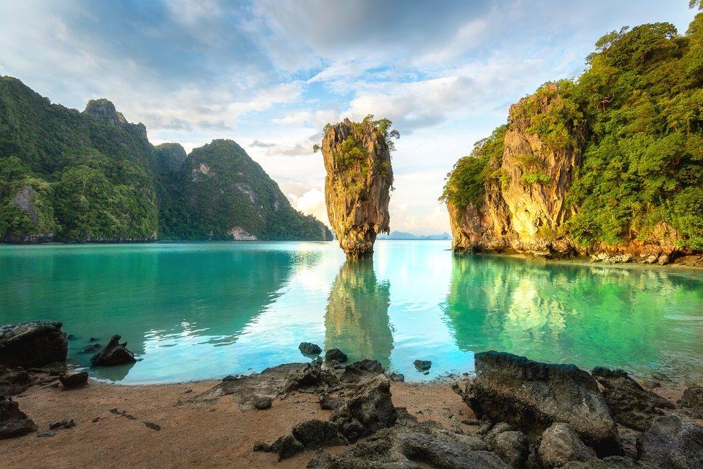 James Bond island, Phuket Thailand. Thai scenic exotic landscape of tourist destination famous place.