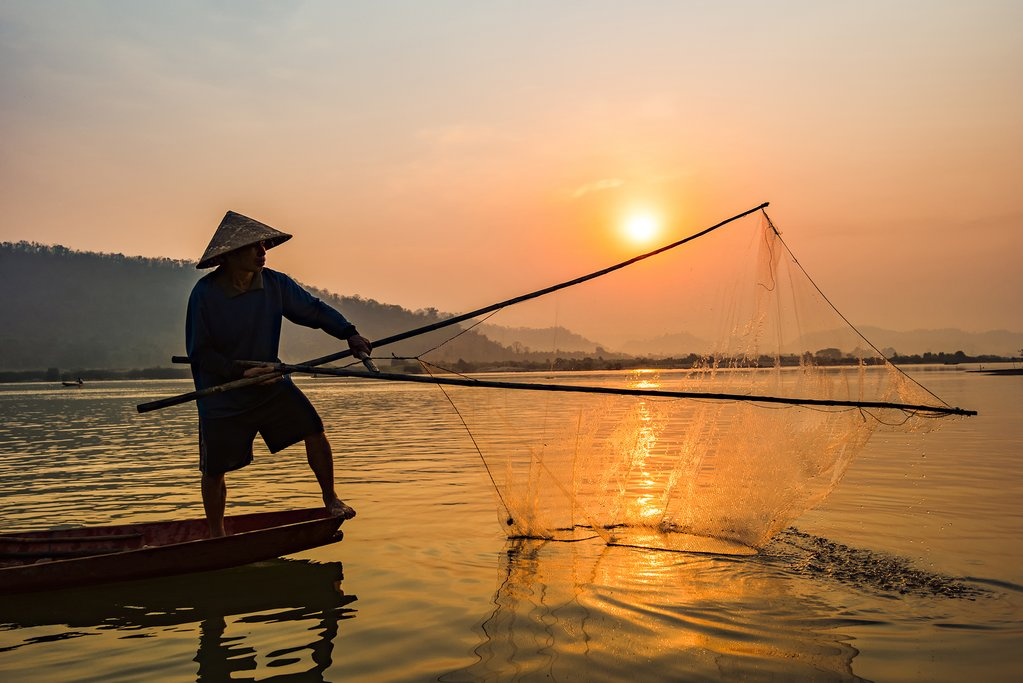Fisherman on the Mekong River