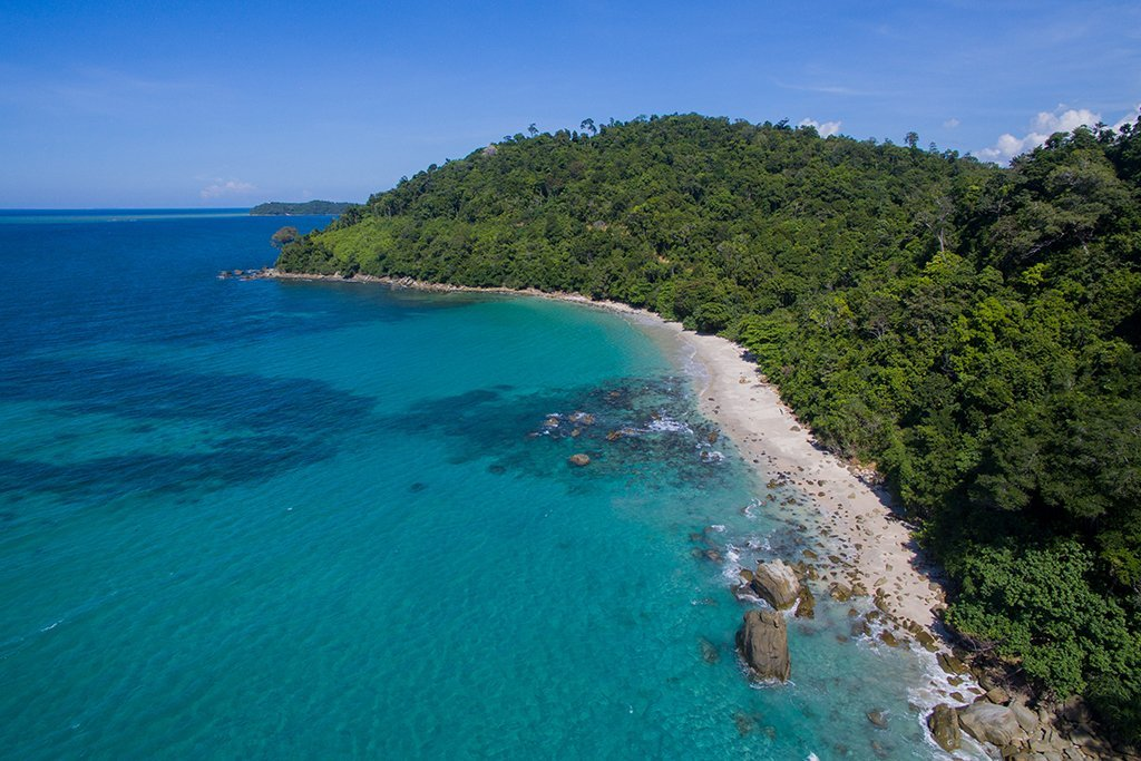 An aerial view of an undisturbed beach in Kota Belud, just north of Kota Kinabalu