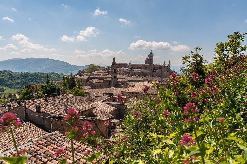 View over the rooftops and countryside of Urbino.