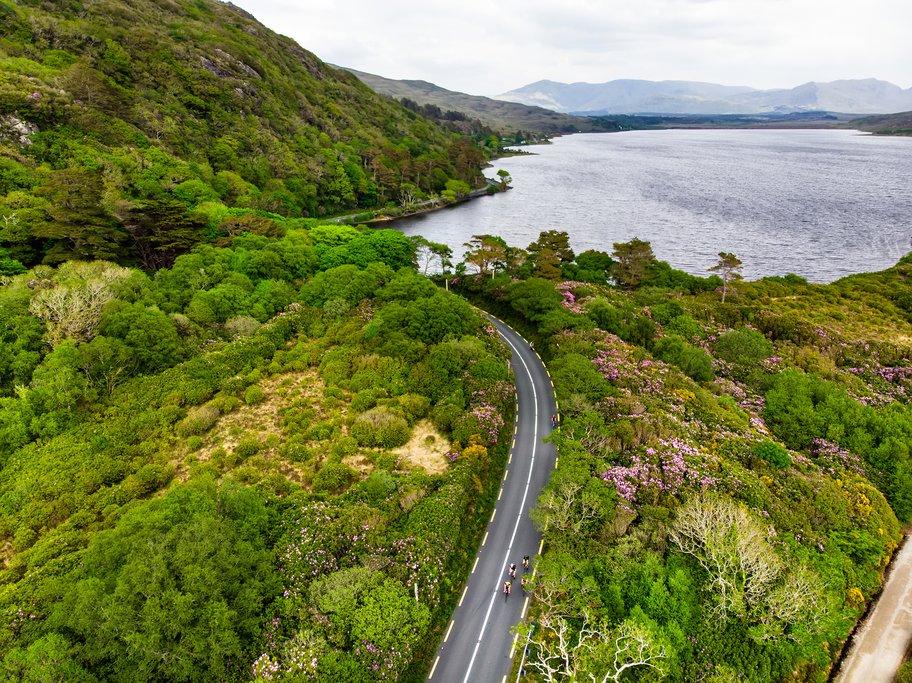 Winding roads through Connemara National Park.