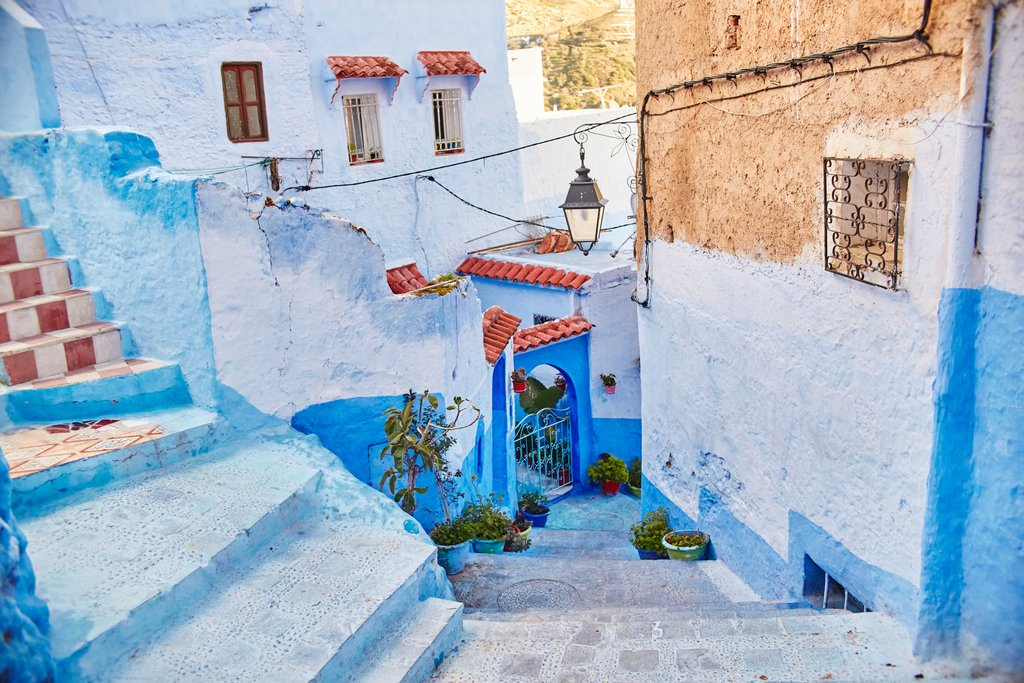 A blue-painted alley in Chefchaouen