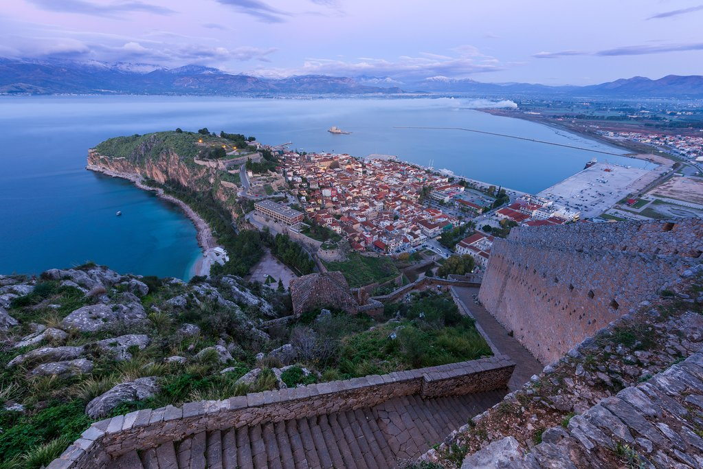 Sunrise over the peninsula of Nafplio