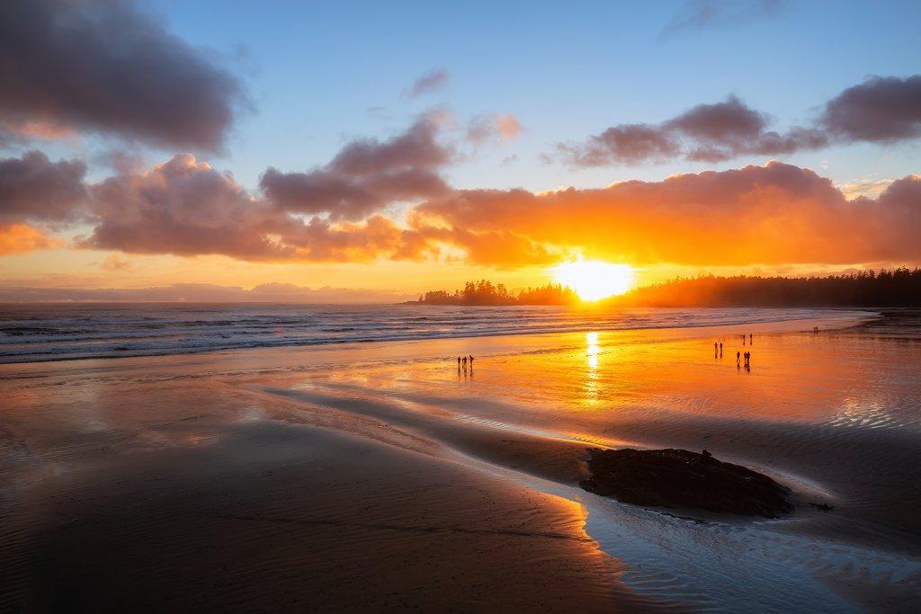 Sunset over Long Beach near Tofino