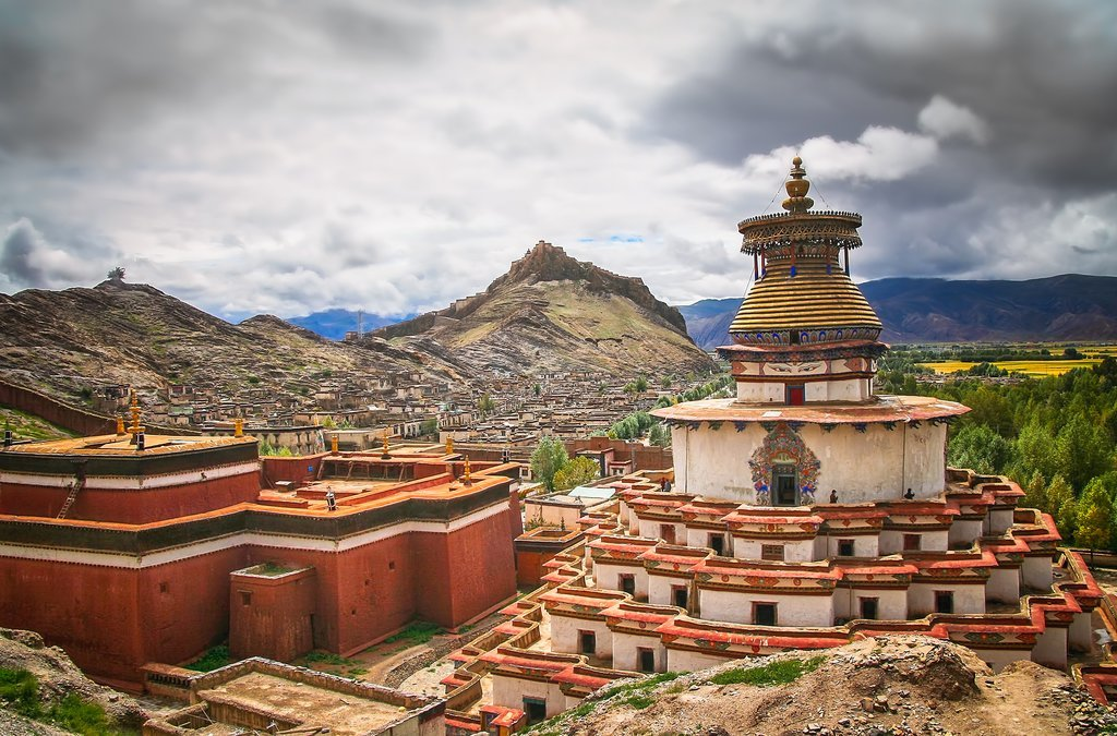Palkhor Monastery and the walled Gyantse town in Tibet