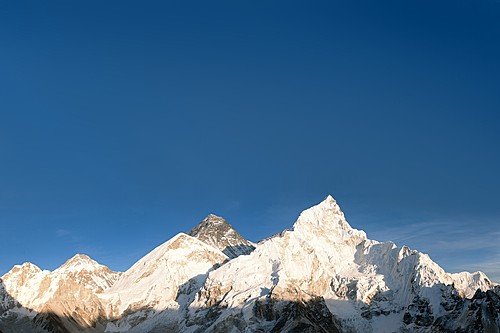 Classic view of Everest and Nuptse from Kala Patthar