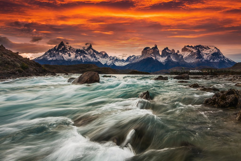 Sunset over Torres del Paine National Park.