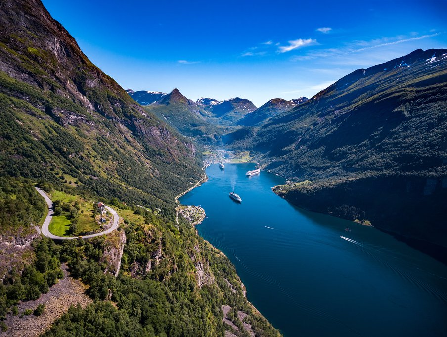 Aerial view into the Geirangerfjord