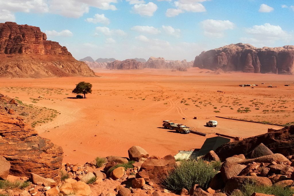 An aerial view of the Wadi Rum desert