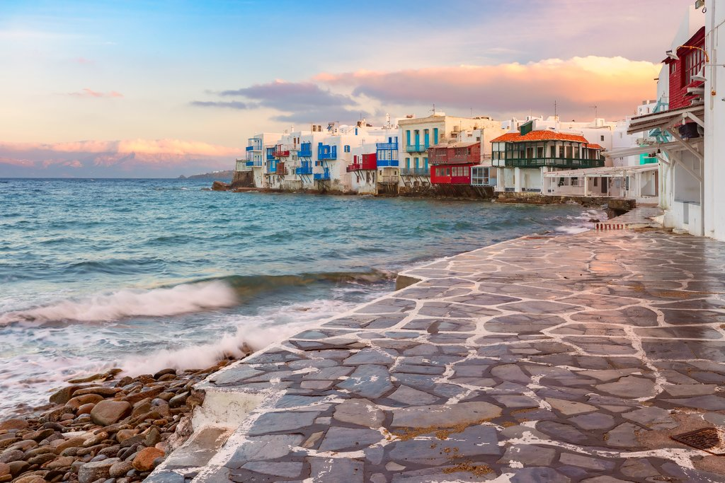 Sunset over the island of Mykonos