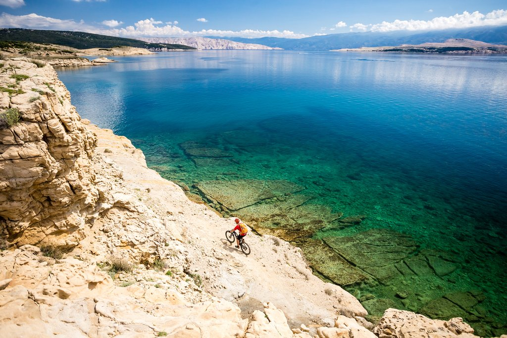Cycling along the rocky coast of the Dalmatian islands
