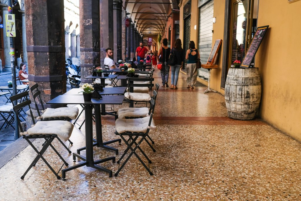 Cafe in Bologna's Porticos