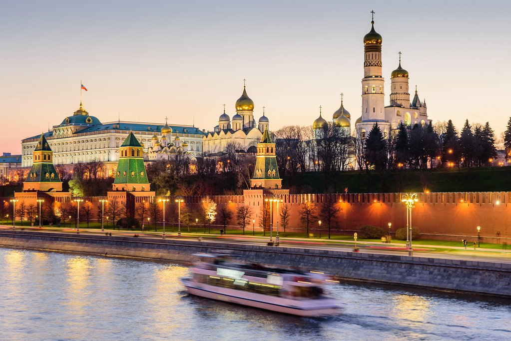 Sunset View of Moscow's Kremlin and Riverfront