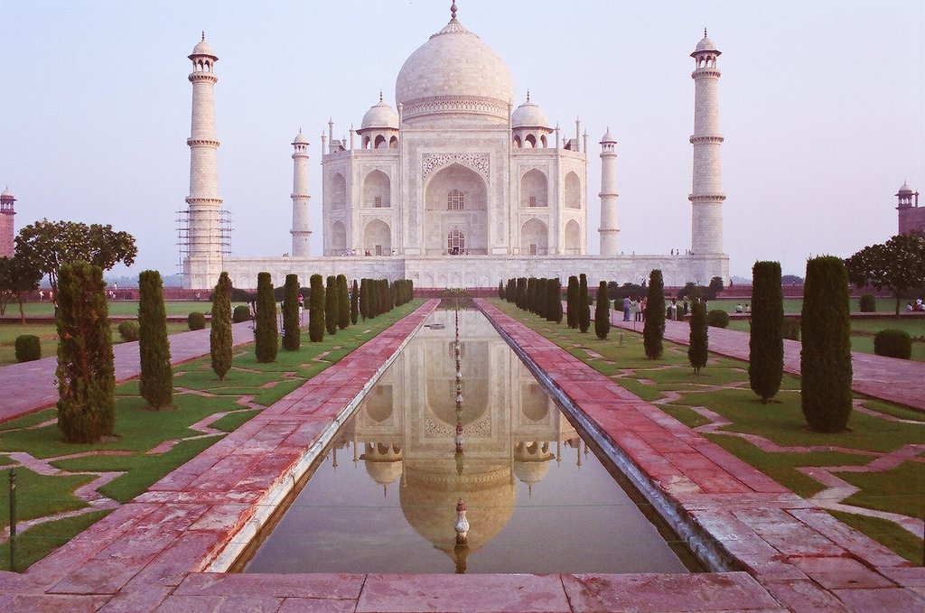 The Taj Mahal bathed in pink light