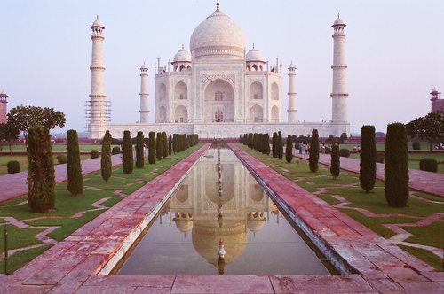 The Taj Mahal bathed in pink light