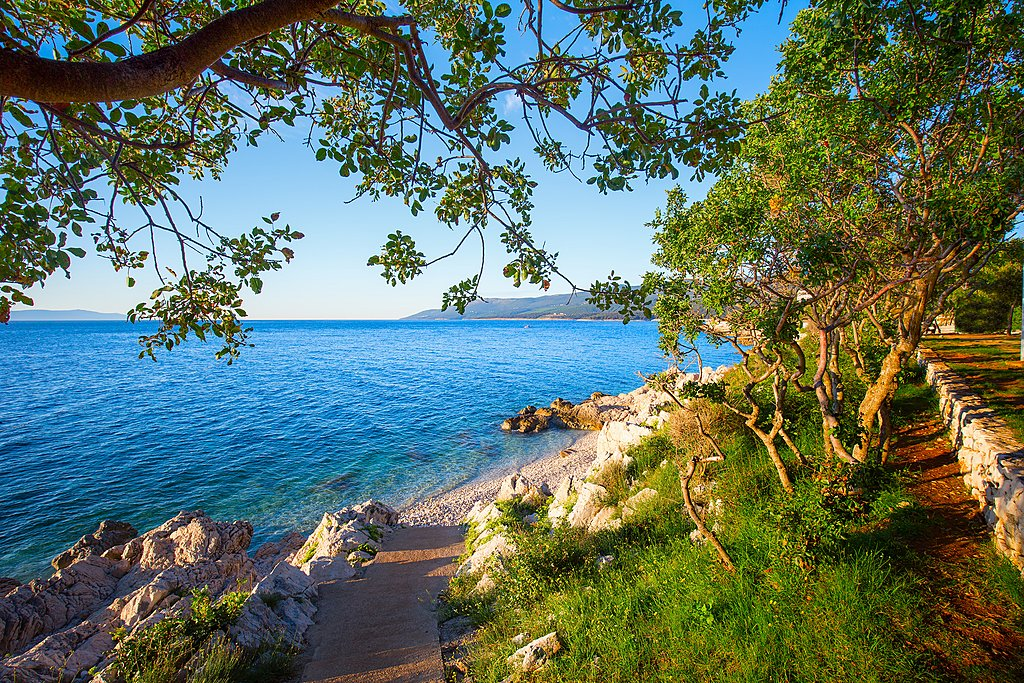 The Istrian peninsula coastline hugs the Adriatic Sea