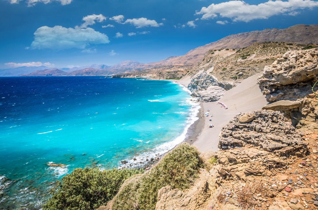 The turquoise waters and rocky shores of Crete