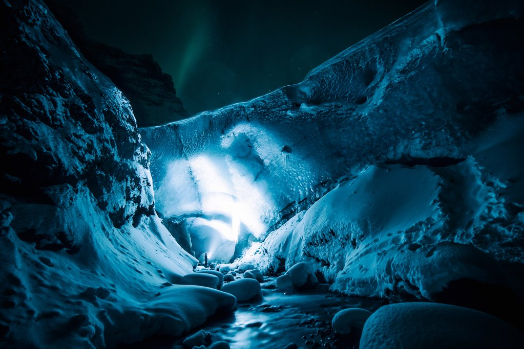 Ice Cave and Northern Lights