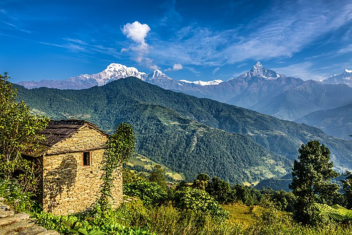 Local villages in the lower Annapurna foothills