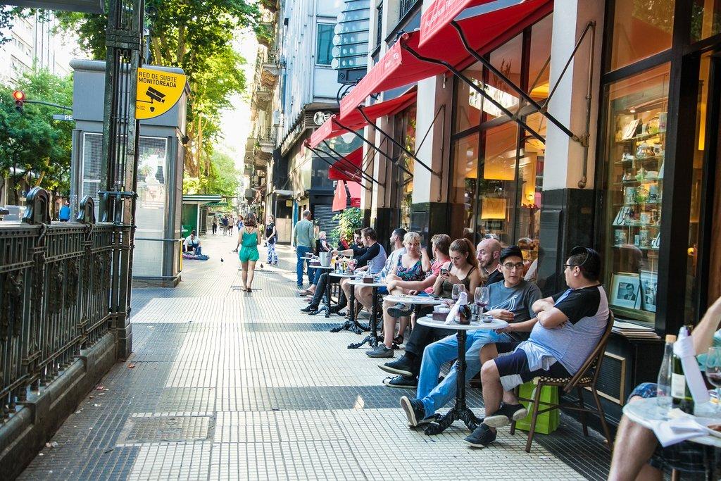 Relaxing in an outdoor café on Avenida de Mayo, Buenos Aires