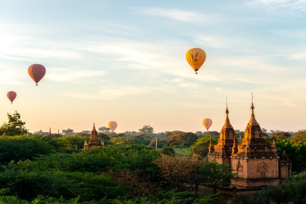 Hot air balloons over the temples of Bagan