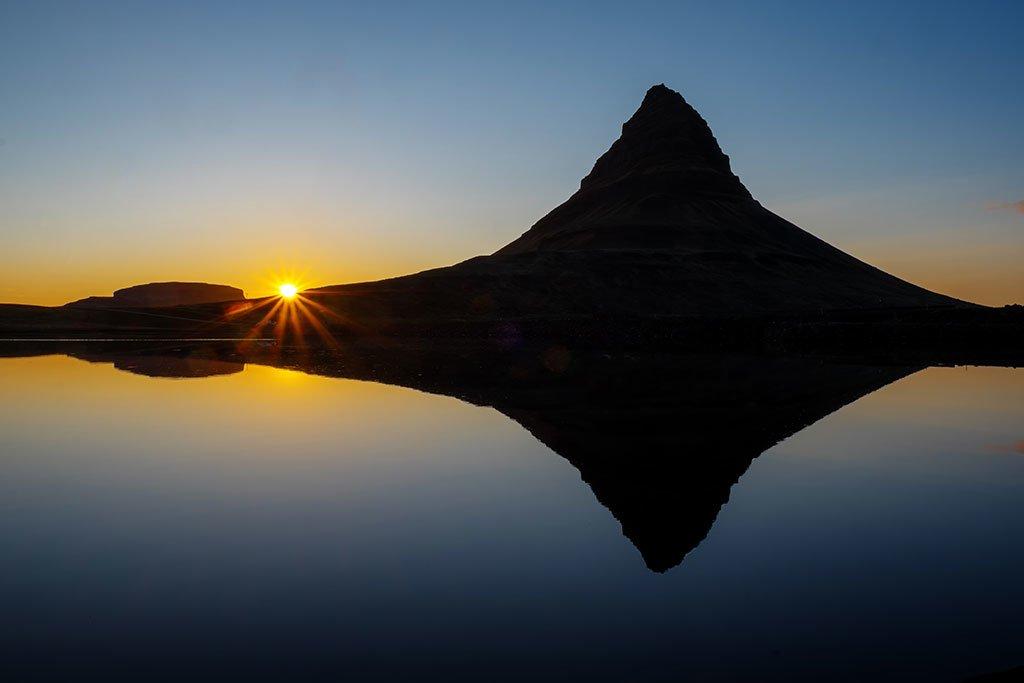 Midnight sun setting on Mt. Kirkjufell