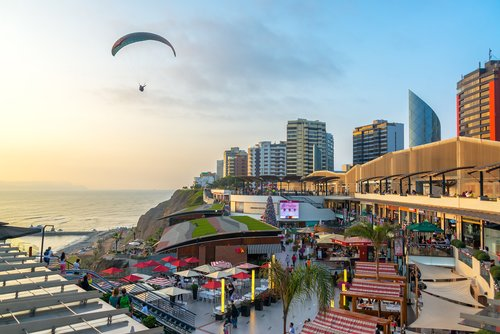 Paragliding over the plush neighborhood of Miraflores in Lima