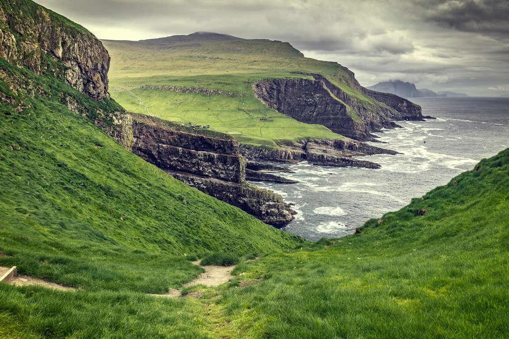 The rocky cliffs of the Faroe Islands
