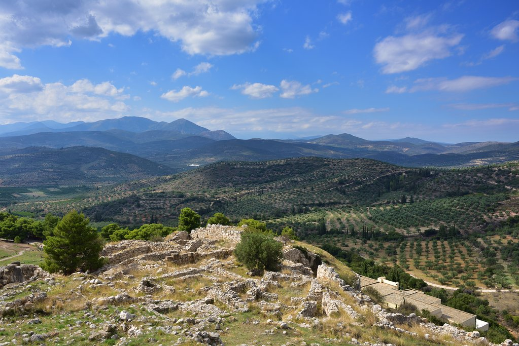 View from the archaeological ruins at Mycenae
