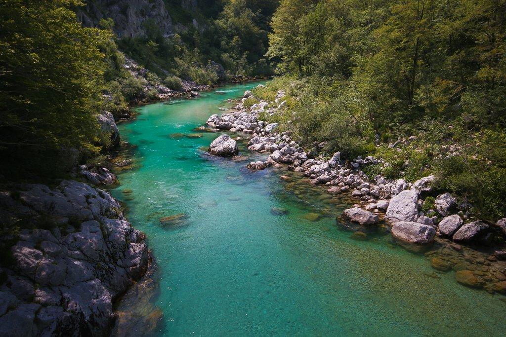 The Soča River in Kobarid, Slovenia
