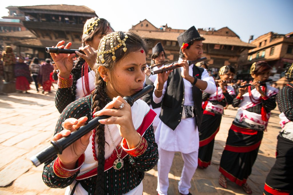 Newars Playing Musical Instrument During Local Festival