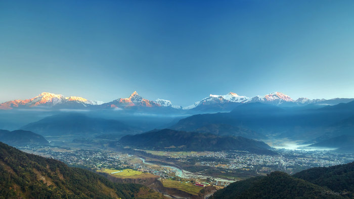 View of Pokhara and the mountains beyond