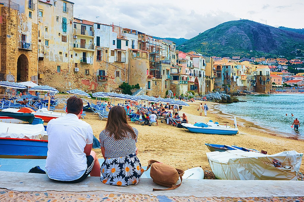 A quiet moment by the beach in Cefalù, Sicily