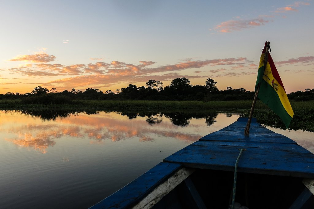 A boat crossing the Bolivian Amazon