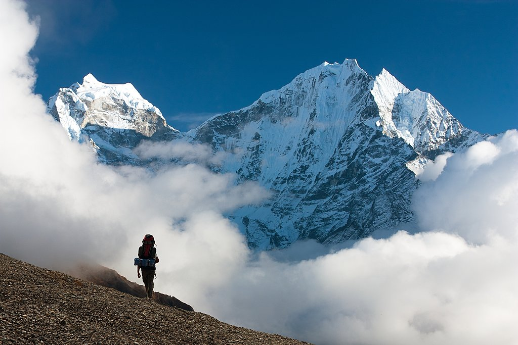 View of Mt. Kangtega & Mt. Thamserku in the Solu Khumbu