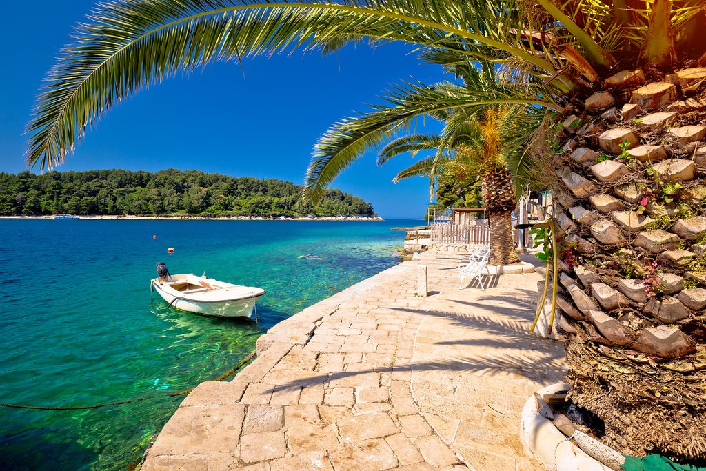 The stunning blue-green waters of the Adriatic kiss the Cavtat shoreline