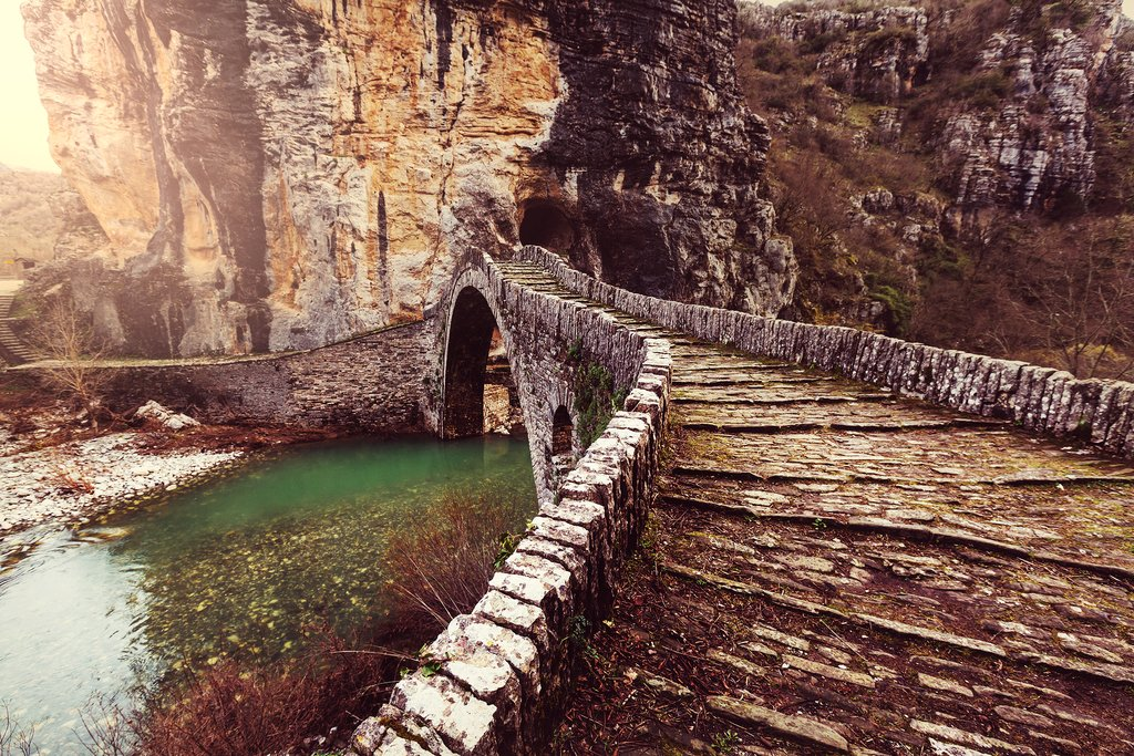 A traditional stone bridge in Zagori