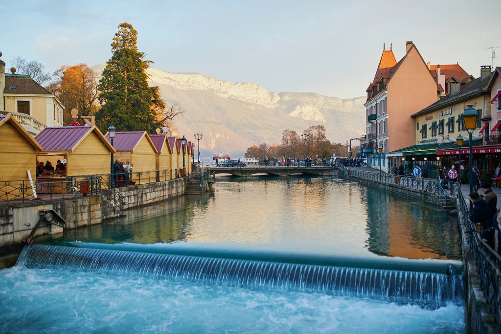 Christmas market along a canal in Annecy