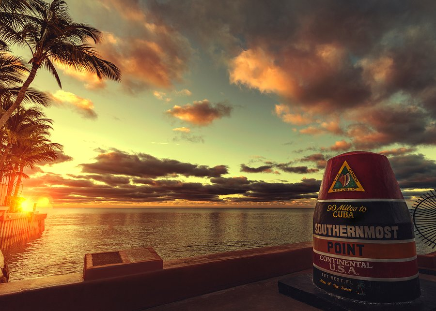 Sunset at the southernmost point of the continental US