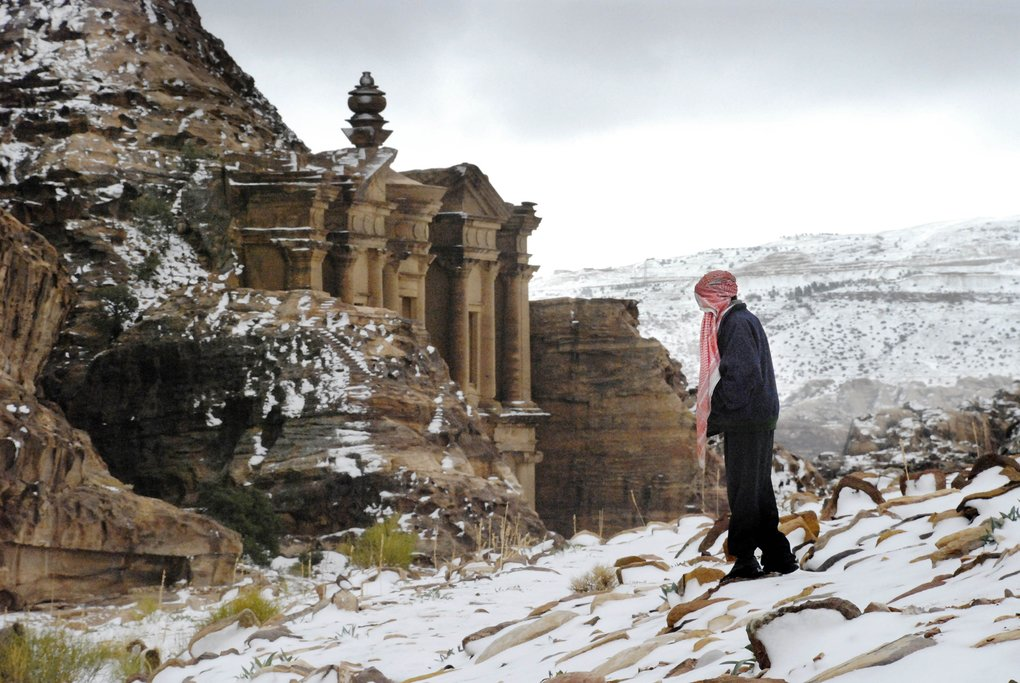 Snow at Petra, Jordan