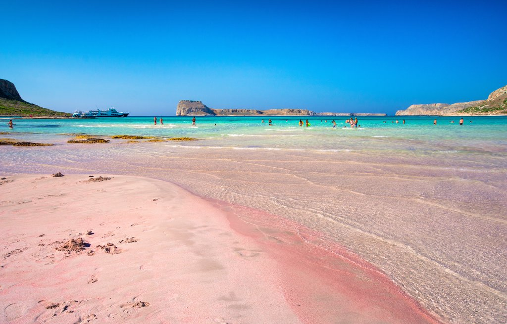 The pink sands of Crete's Balos Lagoon