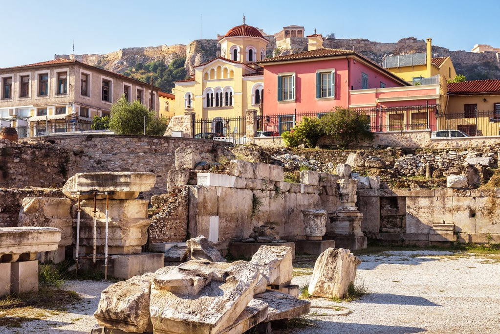 The ruins of Hadrian's Library, Athens